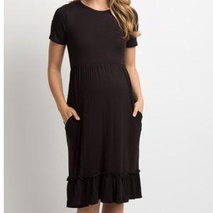 Pink Blush Maternity black dress with ruffle hem